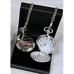 Engraved/ Personalised Pocket Watch in Gift Box 18th/21st/40th/50th/60th/Birthday/BestMan/Wedding Gift