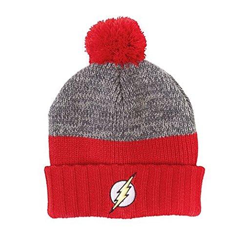 Flash - Cuffia bicolore con logo di Flash e con pompon - Licenza ufficiale della DC Comics in doppio strato - Rosso e grigio