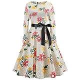 xmansky Frauen Retro Hepburn Style Kleid Herbst, 50er Jahre 60er Vintage Floral Bedruckt Langarm Oansatz Cocktail Rockabilly Partykleid mit Gürtel