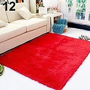Bath Rugs lansiZD, Living Room Bedroom Home Anti-Skid Soft Shaggy Fluffy Area Rug Carpet Floor Mat - Red