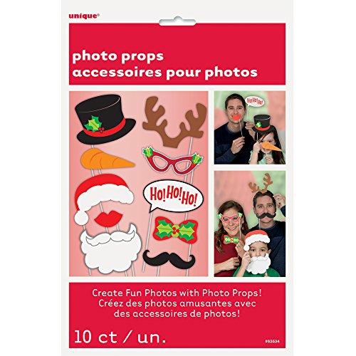 Unique Party Supplies Fotorequisiten für Weihnachten, 10 Stück