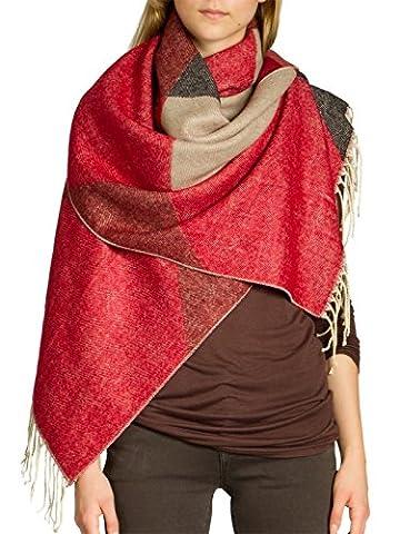 CASPAR SC464 Damen warmer großer XXL Schal, Farbe:rot-schwarz-taupe;Größe:One Size
