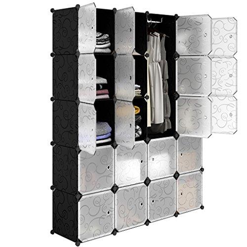 LANGRIA Stufenregal 20-Kubus Regalsystem Kleiderschrank Garderobenschrank für Kleidung, Schuhe,...