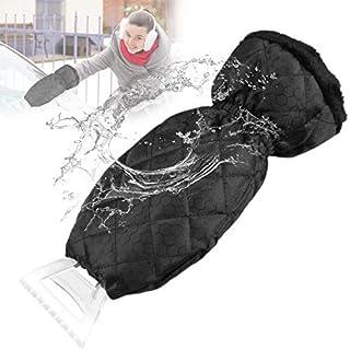 Zaeel Eiskratzer mit Handschuh, Eisschaber Mit Handschuh Autos Eisschaber Handschuh Frontscheiben Wasserdicht Flauschig Nie Eingefrorene Hand Bei Schneeräumung(37.5*10.9cm)