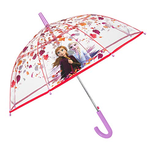 Perletti ombrello frozen 2 trasparente bambina 4/6 anni - ombrello bimba a cupola con anna e elsa e foglie - ombrellino lungo pioggia disney il segreto di arendelle e dettagli lilla rosa - diam 74 cm