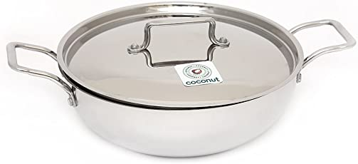Coconut Kadai with Lid -Thick Triply Bottom (Sandwich Bottom) - 2000 ml - Stainless Steel