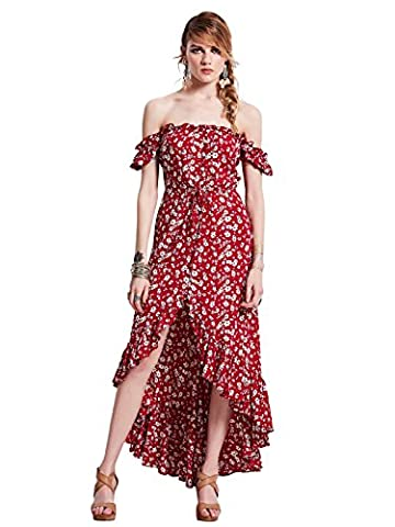 Bohoartist Slash Neck Strapless Puff Sleeve Rose Flower Print Evening Party Prom Drawstring Maxi Dress(M)