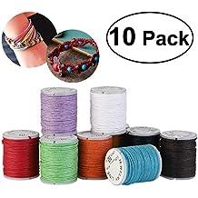 10pcs Cordón de algodón encerado encerado cadenas Abalorio joyería 10M 1mm para DIY pulsera Color mezclado