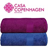 Casa Copenhagen 430 GSM Combed Cotton Eternal Bath Towel Set, 60 X 120 cm (Pack of 2)(Midnight Blue & Purple) Improved 2019 Edition