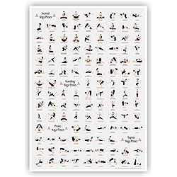 Yoga Asanas Poses en A1 (59,44 cm X 84,07 cm) Póster