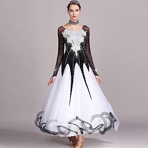 Modern Dance Kleid Große Pendel Rock GB Dance Kleid Tanzwettbewerb Performance Kleid Strass Tanz Kostüm Tango Walzer Rock,Black,XXL (Swing Ballroom Tanz Kostüme)