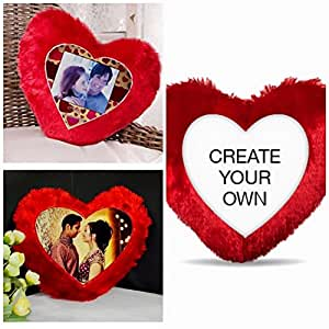 ANNIVERSARY GIFTS:PERSONALIZED GIFTS valentine day gifts: HEART shape RED fur PILLOW PERSONALISED CUSHION print by DECORATIVE BUCKETS 14 inches gift for him gift for her gift for boy friend gift for girl friend