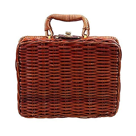 WCIC Wicker Gift Hampers Handcraft Willow Weave Basket Storage Case with Lining for Gift Box Travel Luggage Handbag (Large (Weave Hamper)