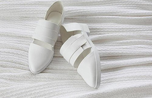 Beauqueen Pumps Sandalen Round-toe Mönch-Riemen Casual Work Sandalen Frauen Wunderschöne Weiß Europa Größe 34-39 White