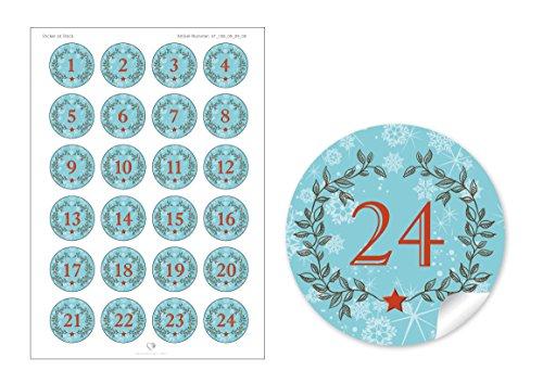 24Calendrier de l'Avent chiffres dans turquoise avec couronne de Noël et chiffres 1–24pour un calendrier de l'avent à remplir soi-même bricolage & # x2022; autocollantes Noël autocollant/sticker/étiquettes: 4cm, rond, mat