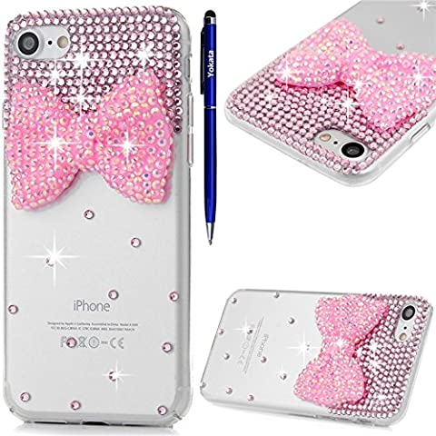 iPhone 7 Hülle, Yokata Luxury Transparent mit Rosa Bowknot Motiv Case Glitzer Bling 3D Diamant Cover PC Hart Plastik Schutz Creative Schutzhülle + 1 X Stylus Pen