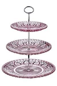 premier housewares 3 st ckige kuchen etag re aus glas rosa k che haushalt. Black Bedroom Furniture Sets. Home Design Ideas