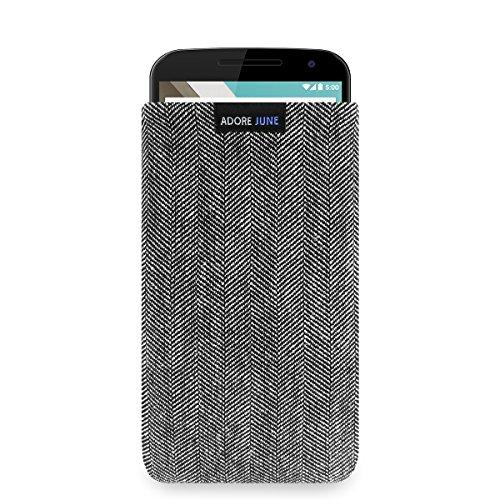 Adore June Business Tasche für Google Nexus 6 Handytasche aus charakteristischem Fischgrat Stoff - Grau/Schwarz | Schutztasche Zubehör mit Display Reinigungs-Effekt | Made in Europe