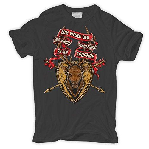 Männer und Herren T-Shirt Zur Jagd gehört die Trophäe HIRSCH Geweih Körperbetont grau