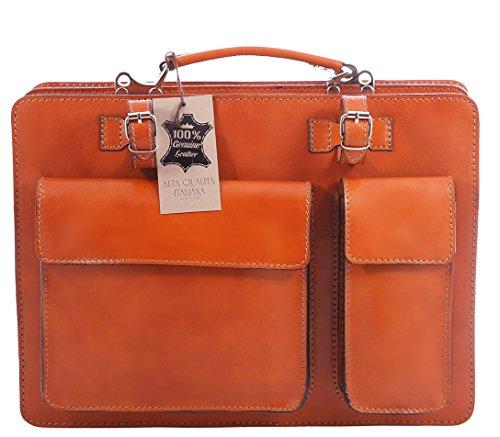 Männerarbeit Bag, Box Italienisch und Document Organizer, 100% echtes Leder Made in Italy Leder