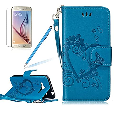 Girlyard Lederhülle für Samsung Galaxy J3 2016/ J3 2015 Wallet Flip Case, Elegant Liebe Herz Schmetterling Blumen Muster Schutzhülle mit Lanyard Strap Handyhülle Standfunktion Karteneinschub und Magnetverschluß Etui -- Blau