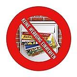 Keine Werbung einwerfen - Aufkleber für Ihren Briefkasten | 5 Stück rund d:4cm | witterungsbeständig & langlebig
