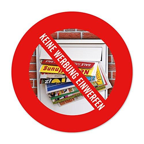Keine Werbung einwerfen - Aufkleber für Ihren Briefkasten   5 Stück rund d:4cm   witterungsbeständig & langlebig