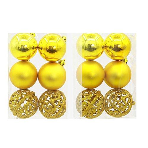6CM boxed hohle matte Ball Weihnachtsbaum Ornamente HKFV,Weihnachten Bälle Baubles Party Weihnachtsbaum Dekorationen Hanging Ornament Dekor (Gelb)