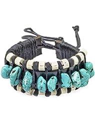 PAPAYANA Hippes Leder-Armband besetzt mit türkisen Steinen in Natur-Form