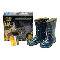 Little Pals Personalise Your Own Childrens Wellies, Blue, Large, with Glow in the Dark and Day Glow Paints
