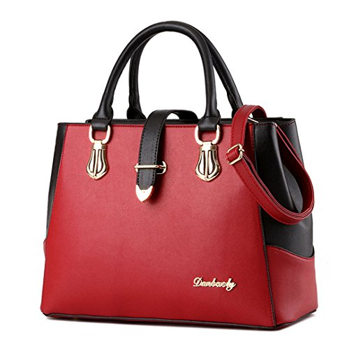 Tibes Frauen Schultertasche Satchel Handtasche Geldbörse Fashion Geschenk Rot (Satchel Handtasche Tasche)