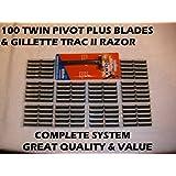100 Personna Twin Pivot Plus Blades & Fixed Head Razor