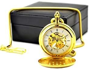 Armel® Golden Brass Skeleton Pocket Watch Chain Mechanical Hand Wind Full Hunter Steam With Pu Leather Box