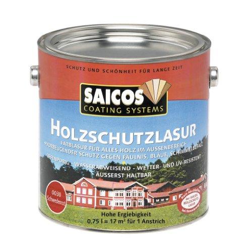 Preisvergleich Produktbild Saicos 0030 301 Holzschutzlasur schwedenrot 0.75 Liter