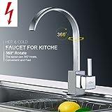 Auralum Einhebel Niederdruck Küchearmatur Spültischarmatur Waschtisch Armatur Mischbatterie für Küche Chrom