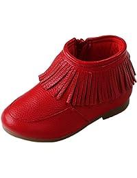 EOZY Boots Enfant Bébé Fille Pu Cuir Souple Chaussure Frange Bottine Botte Neige Hiver Chaude