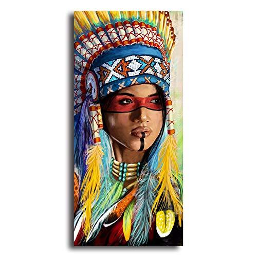 Orlco Art - Cuadro moderno lienzo plumas indias nativas