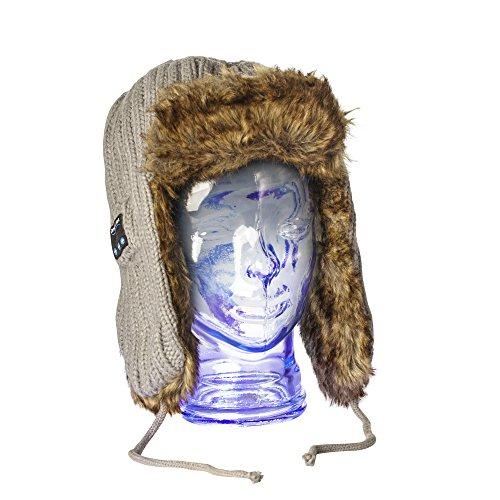 MATANA Berretto Bluetooth Cappello Inverno Wireless Unisex con Cuffie Auricolari Stereo, Microfono Integrato, Mani Libere - Grigio Earflaps