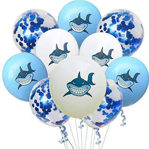 MissGood Cute Shark Latex Ballons Blau Konfetti Ballons Hawaiian Summer Beach Marine Ozean Thema Ballons für Baby Shower Kinder Geburtstag Pool Party Dekoration Lieferungen 12 Zoll 10 Stücke