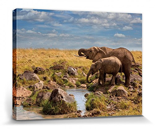 1art1® Elefantes - Elephants of Maasai Mara, Mario Moreno Cuadro, Lienzo Montado...