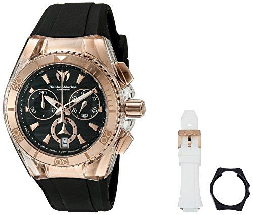 Technomarine Unisex 40mm Bracelet Silicone Noir Boitier Acier Inoxydable Quartz Analogique Montre 115045