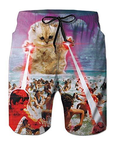 Fanient Herren Schwimmen Stämme Cute 3D Gedruckt Katze Grafik Badehose Badeshorts Swim Boxer Kurze Hosen XXL , Kleinkind, Katze