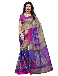 Salwar Studio Women's Grey & Blue Kota Doria Saree With Blouse Piece(OM-0030027_Grey & Blue_Free Size)