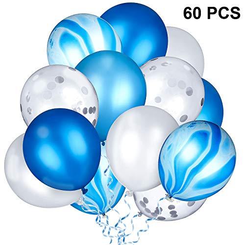 Gejoy 60 Stücke 12 Zoll Blau Silber Luftballons Konfetti Luftballons Latex Luftballons Blauer Marmor Luftballons für Geburtstag Party Baby Dusche Abschlussfeier Dekoration, 5 Stile
