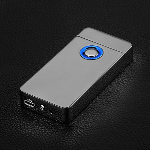 GuDoQi Fingerabdruck-Induktion Dual-Bogen Feuerzeug Wiederaufladbare USB Winddichtes Plazmatic Elektro-Feuerzeug mit LED-Schalter-Taste