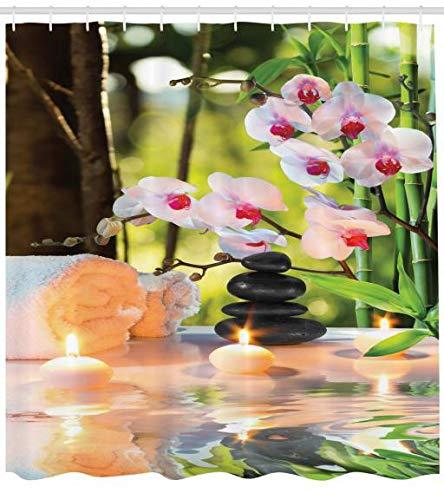 ABAKUHAUS SPA Cortina de Baño, Composición Tema Masaje SPA con Velas Orquídeas y Piedras en el Jardín, Material Resistente al Agua Durable Estampa Moderna Digital, 175 X 200 cm, Verde Claro