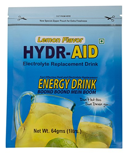 HYDR-AID Electrolyte Replacement Energy Drink - 64 g (Lemon, Pack of 8)