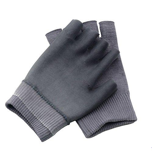2 Stück Feuchtigkeitsspendende Spa Handschuhe Halbe Finger Touchscreen Handschuhe Gel Linie mit ätherischen Ölen und Vitamin E (Grau)