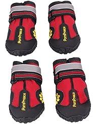"""Malloom® Animales Antideslizante impermeables botas para medianas y grandes zapatos Perros Labrador Husky (6 Largo:7.5CM/2.95"""" Ancho:6.4CM/2.51"""", rojo)"""
