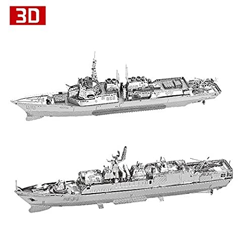 2pcs set Moutu 3D Metal Puzzle Burke Class Destroyer Type 056 Corvette Warship Model Kit DIY 3D Laser Cut Assemble Jigsaw Toys For Audit